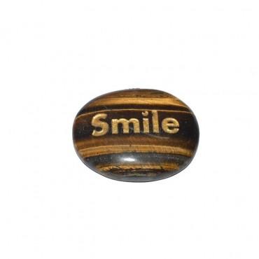 Tiger Eye Smile Engraved Stone