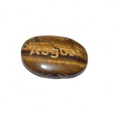 Tiger Eye August Engraved Stone