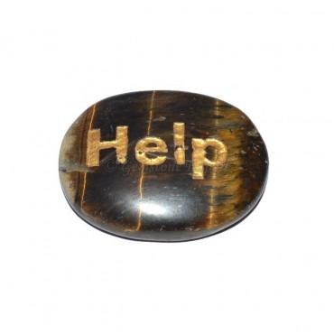 Tiger Eye Help Engraved Stone