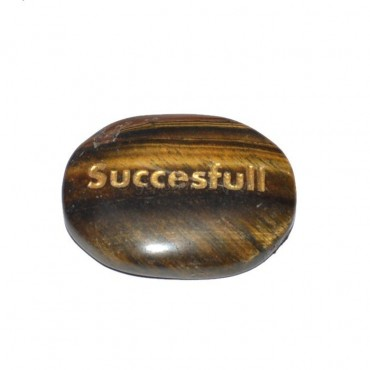 Tiger Eye Successful Engraved Stone