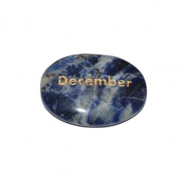 Sodalite December Engraved Stone