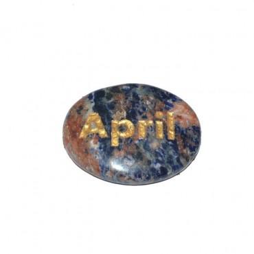 Sodalite April Engraved Stone