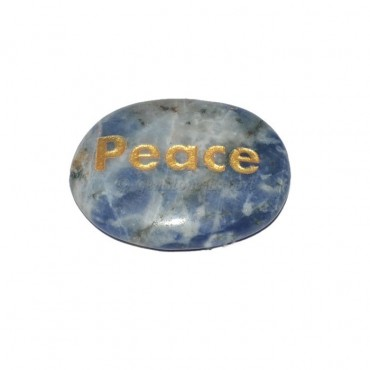 Sodalite Peace Engraved Stone