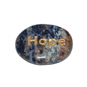 Sodalite Hope Engraved Stone
