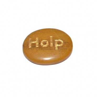 Yellow Jasper Help Engraved Stone