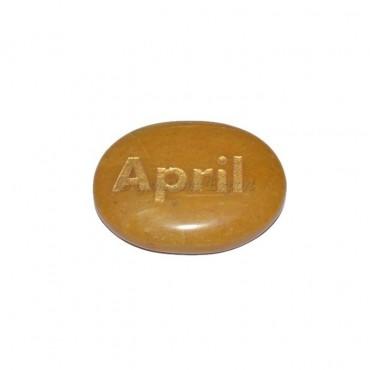 Yellow Jasper April Engraved Stone