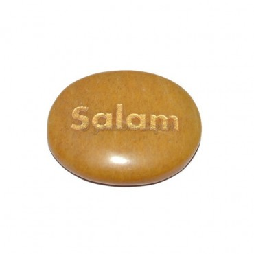 Yellow Jasper Salam Engraved Stone