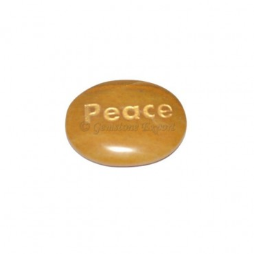 Yellow Jasper Peace Engraved Stone