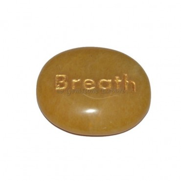 Yellow Jasper Breath Engraved Stone