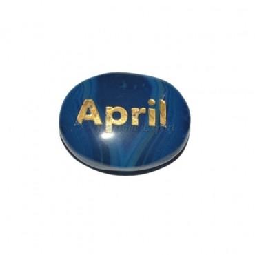 Blue Onyx April Engraved Stone