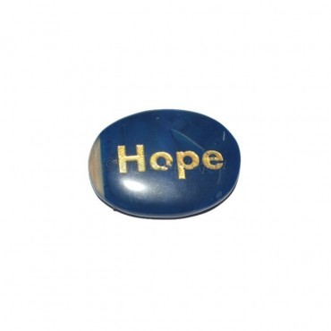 Blue Onyx Hope Engraved Stone