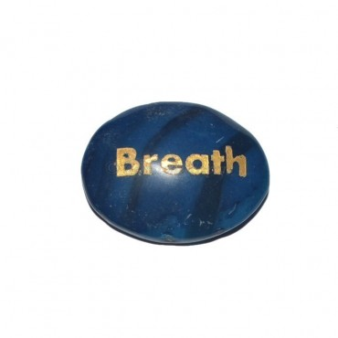 Blue Onyx Breath Engraved Stone