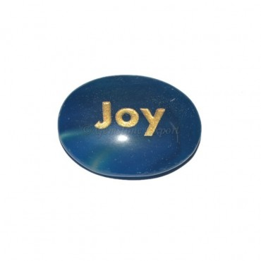 Blue Onyx joy Engraved Stone