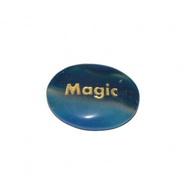 Blue Onyx Magic Engraved Stone