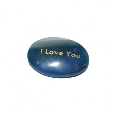 Blue Onyx I Love You Engraved Stone