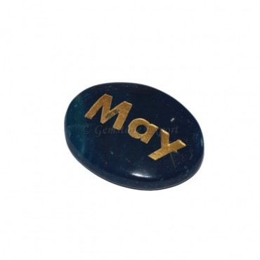 Blue Onyx may Engraved Stone
