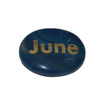 Blue Onyx June Engraved Stone