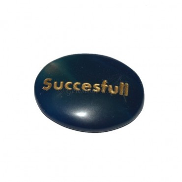 Blue Onyx Successful Engraved Stone