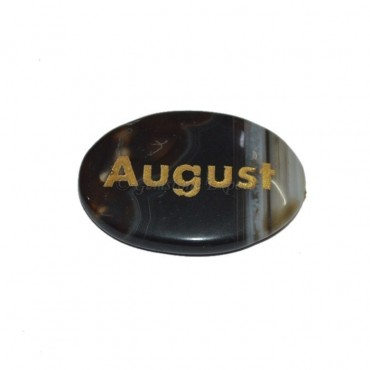 Black Onyx August  Engraved Stone