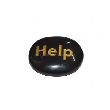 Black Onyx Help Engraved Stone