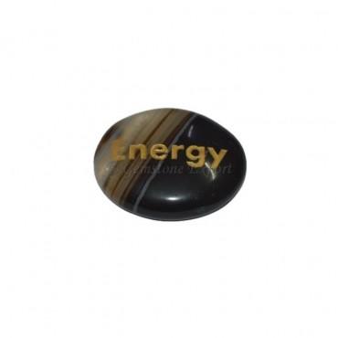 Black Onyx Energy Engraved Stone