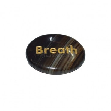 Black Onyx Breath  Engraved Stone