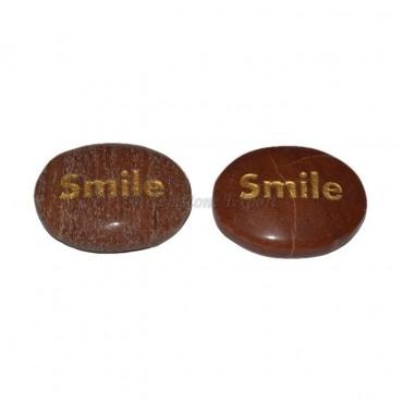 Peach Aventurine Smile Engraved Stone