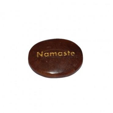Peach Aventurine Namste Engraved Stone