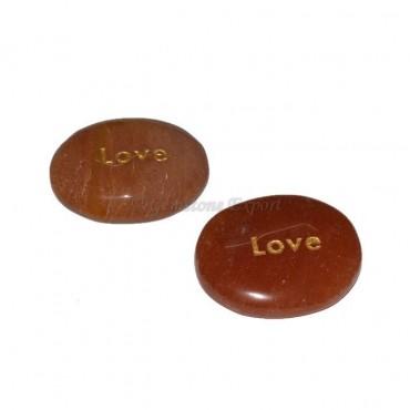 Peach Aventurine Love Engraved Stone