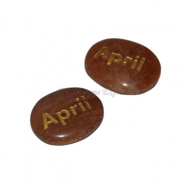 Peach Aventurine April Engraved Stone
