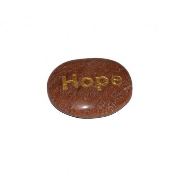 Peach Aventurine Hope Engraved Stone