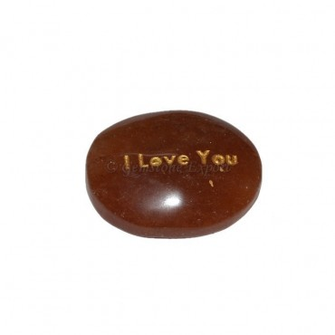 Peach Aventurine I Love You Engraved Stone