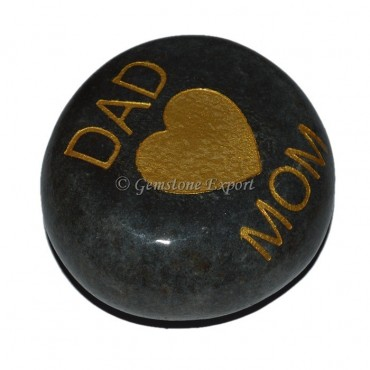 Black Agate DAD & MOM  Engraved Stone