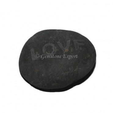 Black Agate Love Engraved Stone