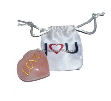 Love Engraved Rose Quartz Heart Engraved Stone