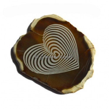Engraved Heart Symbol Agate Slice