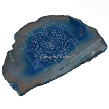 Engraved Reiki Symbol On Blue Onyx Slice