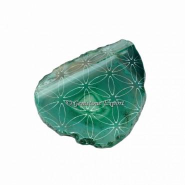 Engraved Design On Green Agate Slice