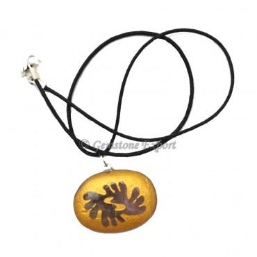 Amethyst Golden Oval Pendants