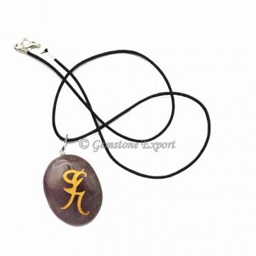 Amethyst Runic Symbols Pendant