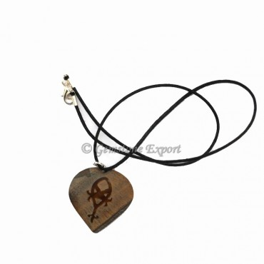 Tiger Eye Heart Rune Symbal Pendant