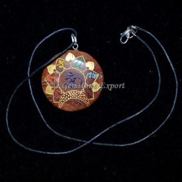 Red Jasper Engraved Chakra Pendants