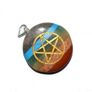 Pentgram Bonded Disc Chakra Pendants