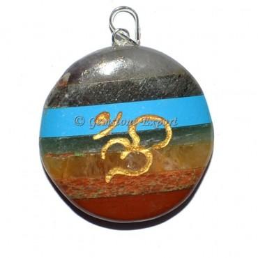 Om Bonded Disc Chakra Pendants