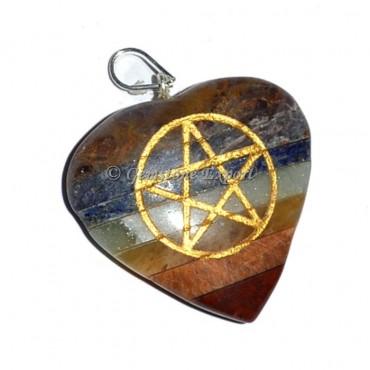 Pentagram Bonded Heart Pendants