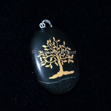 Black Agate Tree Pendants