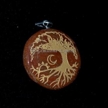 Tree and Moon Red Jasper Pendants