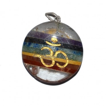 Om Engraved Chakra Pendants