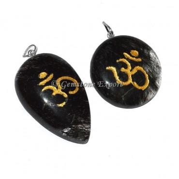 Black Rutile Om Reiki Pendants