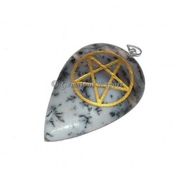 Dendrict Agate Pentagram Pendants